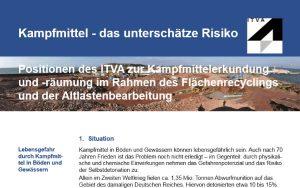 Positionspapier des ITVA zur Kampfmittelerkundung und -räumung im Rahmen des Flächenrecyclings und der Altlastenbearbeitung veröffentlicht.